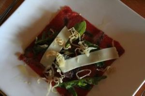 Bison carpaccio appetizer with Manitoba Bothwell cheese
