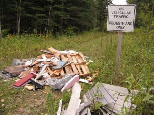Construction materials dumped on local walking trail