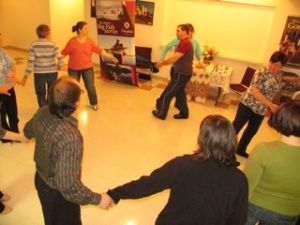 Learning Ukrainian dancing in Dauphin, Manitoba