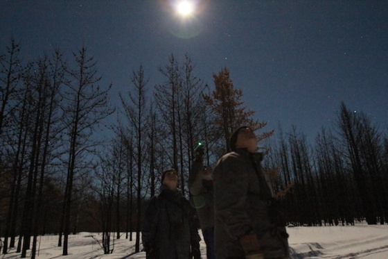 Night sky viewing under full moon, riding mountain national park