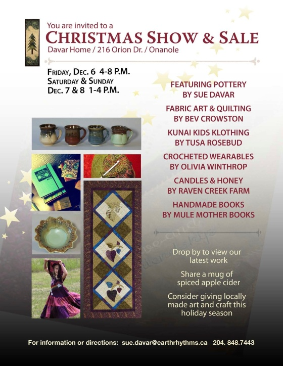 Orion Studio annual Christmas Show & Sale, Onanole, Manitoba